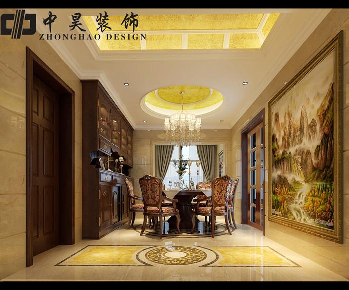 设计风格为奢华欧式,客厅采用挑高设计凸显豪华,大气;地面采用拼花来