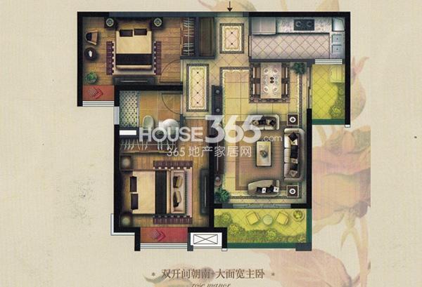 实地玫瑰庄园A2户型2室2厅1卫 86.8平方米