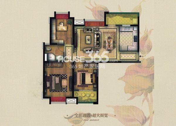 实地玫瑰庄园C3户型3室2厅1卫 107.95平方米