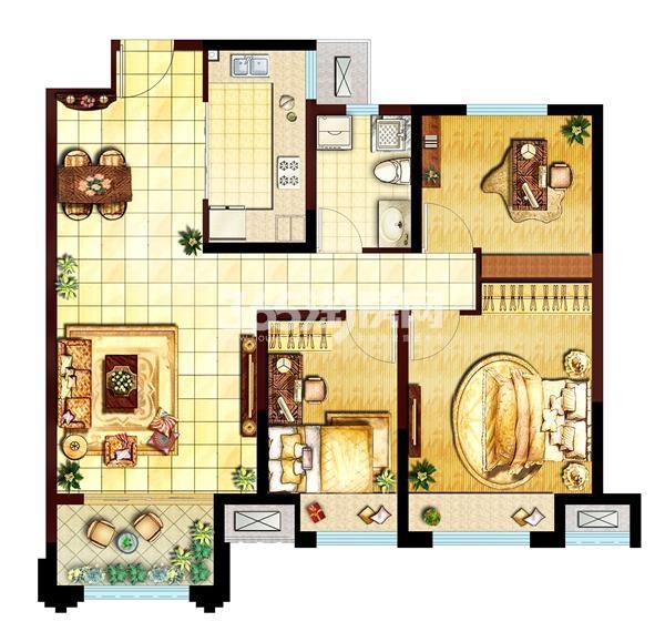 三室两厅一卫  面积:95㎡