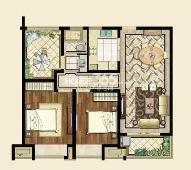 九龙仓碧堤半岛A3户型102平,两房两厅一卫+空中花园
