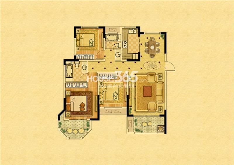 中南景苑113平-12#楼-三室两厅一厨两卫
