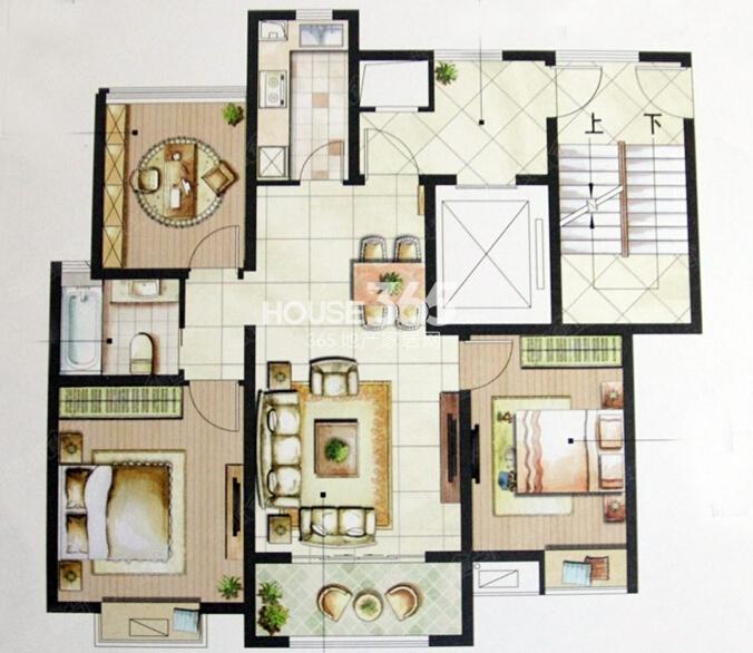 星榈湾A户型两室两厅一卫105-111㎡