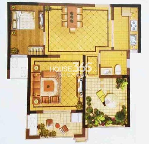 阳光天地高层二期D1户型2室2厅1卫78平