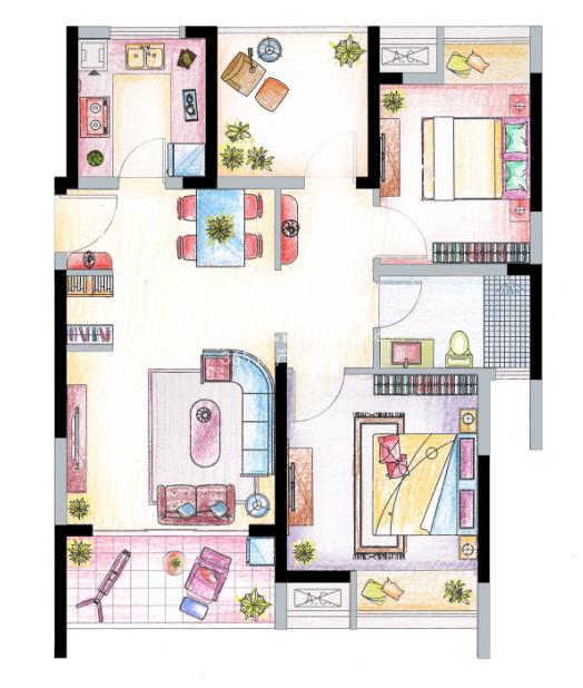 南山维拉B3户型图95㎡,2+1房两厅一卫