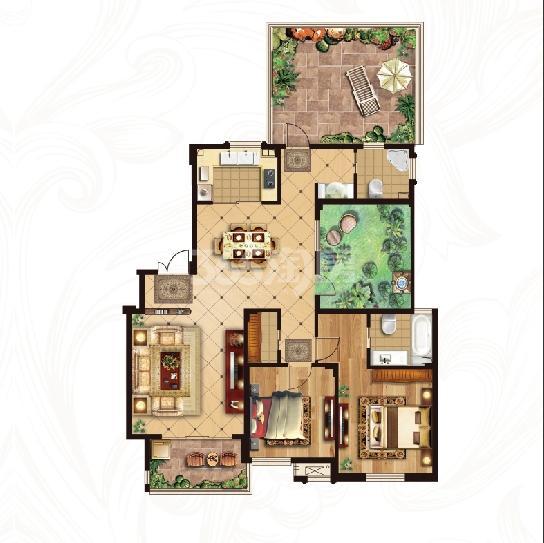 冠城大通蓝湾二期洋房H5户型 143平米百变空间2厅2卫
