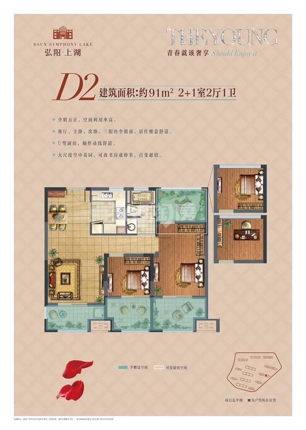 弘阳上湖D2户型图91㎡2+1室2厅1卫