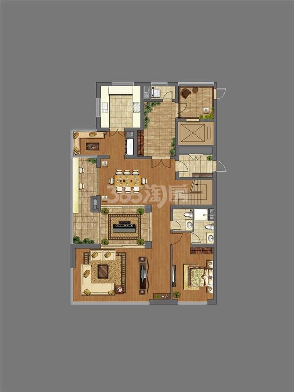 万科大明宫4室2厅4卫1厨299.00㎡户型图下层