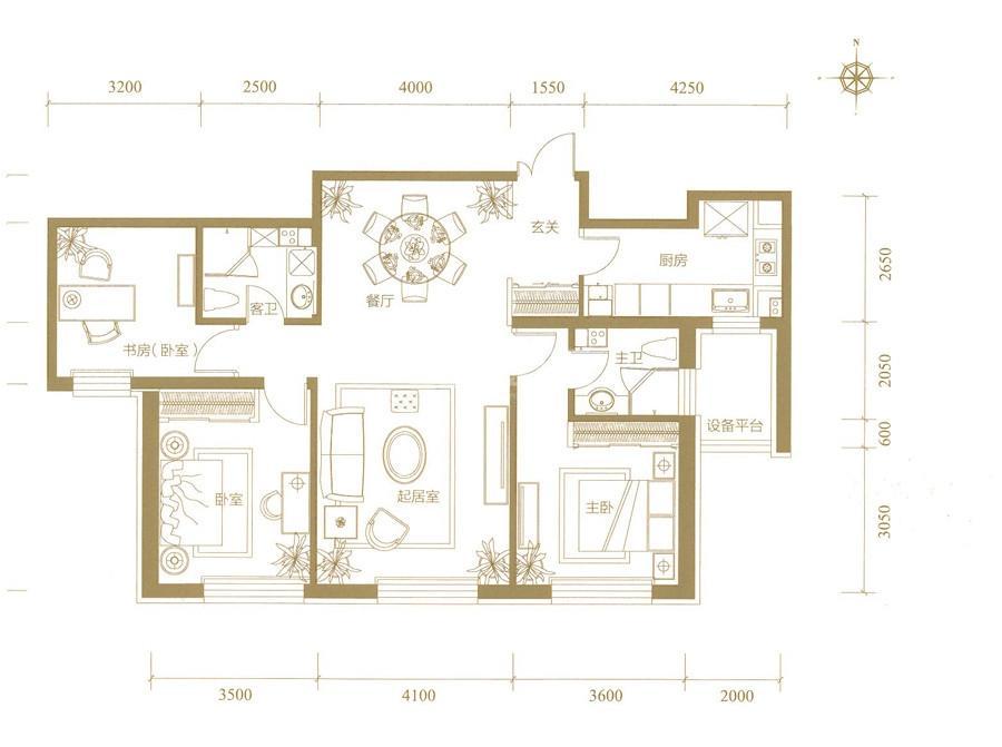 高层1、2、5号楼标准层B户型
