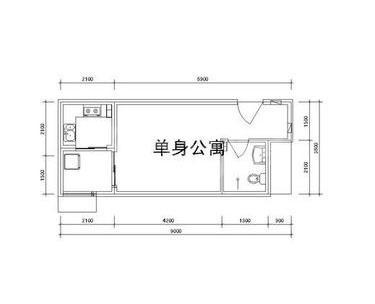 雅逸新城二期4#/5#楼E户型1室1厅1厨1卫37.53㎡