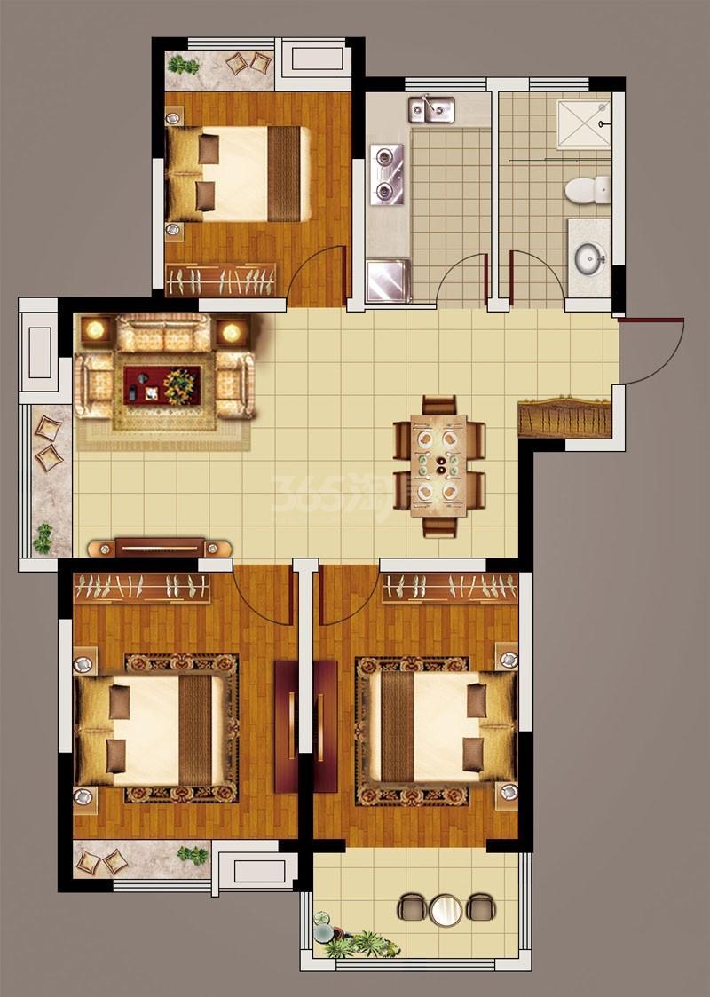 日月星城2#-1(106.81㎡) 户型:3室2厅1卫 建面:106.81平方米 参考价:5400