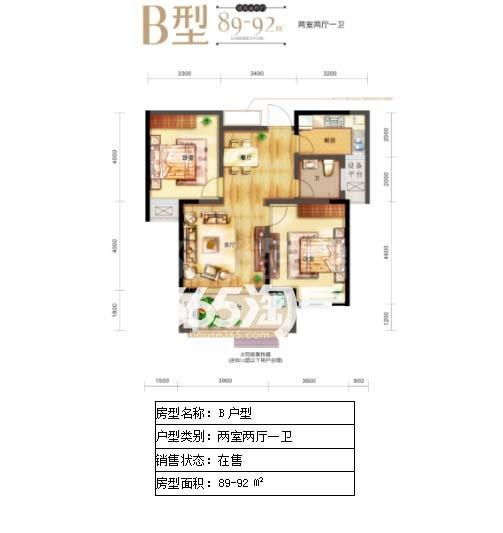 安粮城市广场B户型(89-92平米)