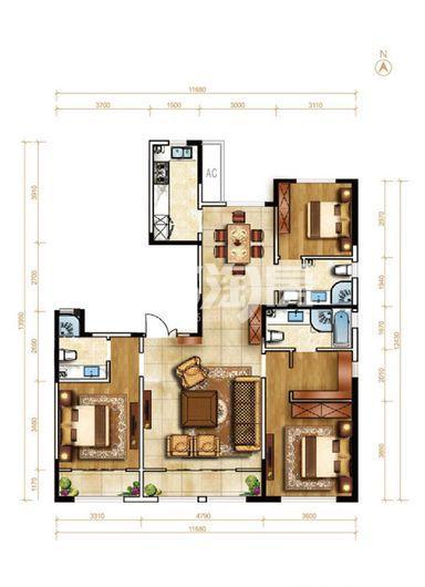洋房23号楼145平米 3室2厅2卫