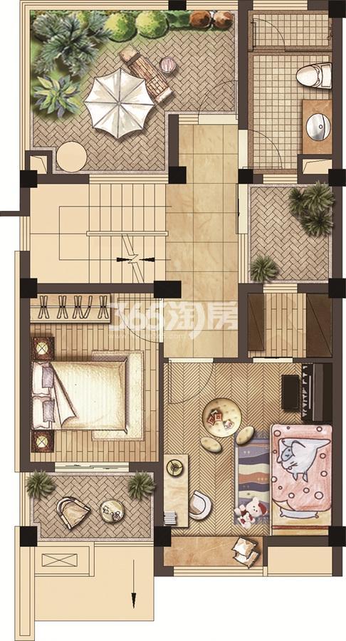 武夷绿洲沁荷苑H1二层平面图