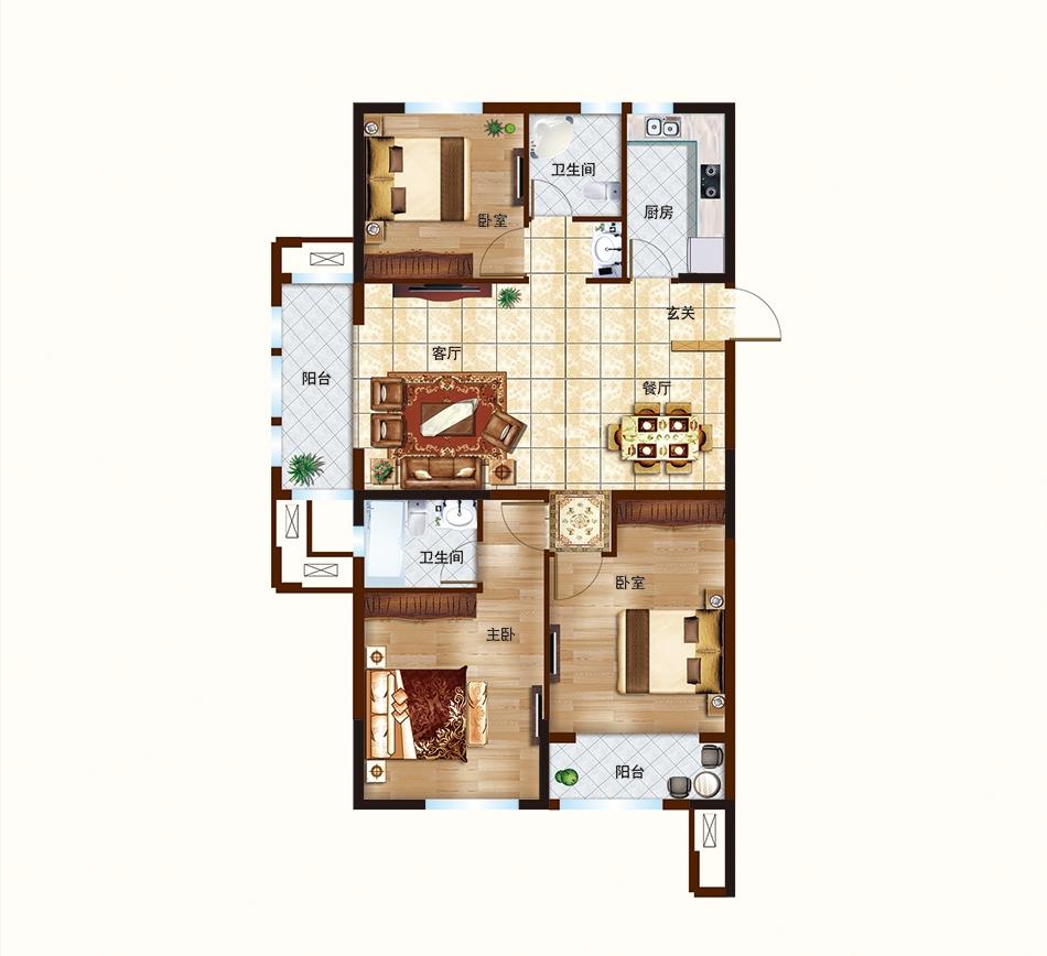 E户型-120㎡-三室两厅两卫