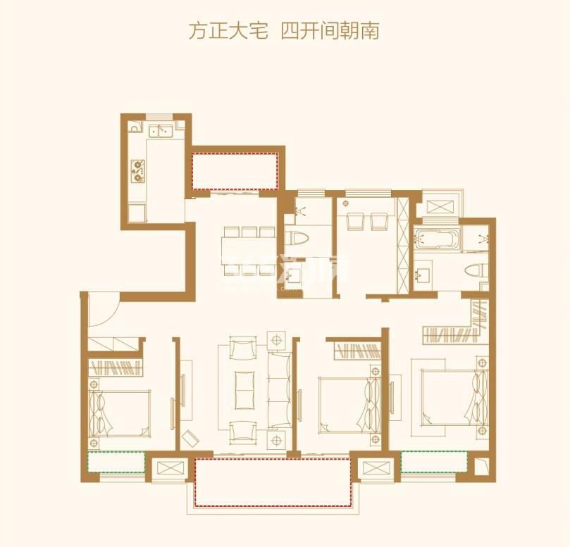 万科碧桂园户型图130㎡精装平层 4房2厅2卫