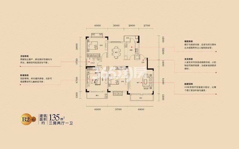 乐富强悦澜湾B2-6户型图135㎡