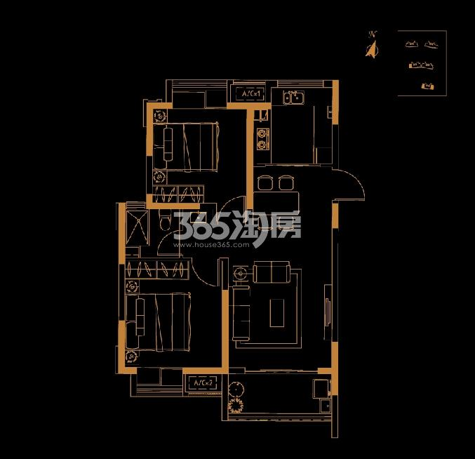 恒基旭辉城高层约79平户型图两房两厅一卫