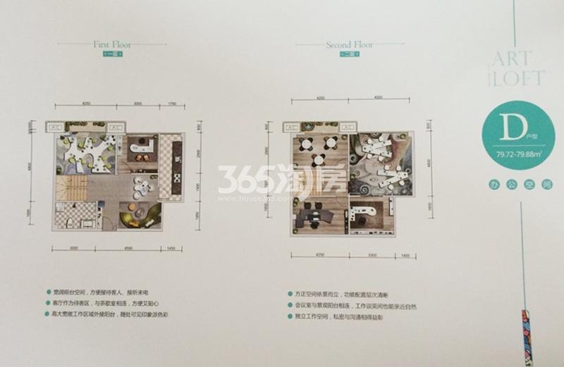 美苑楼尚LOFT D户型平面图79.72-79.88㎡