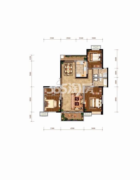紫薇西棠洋房三室两厅两卫135㎡