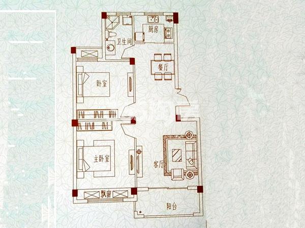 开元蓝庭A4二室两厅户型