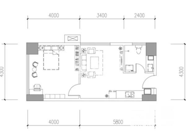 宫园美寓E户型1室1厅1卫1厨61.6平