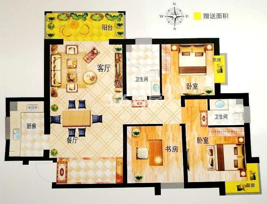 N户型 建筑面积约110.67㎡ 三室两厅两卫