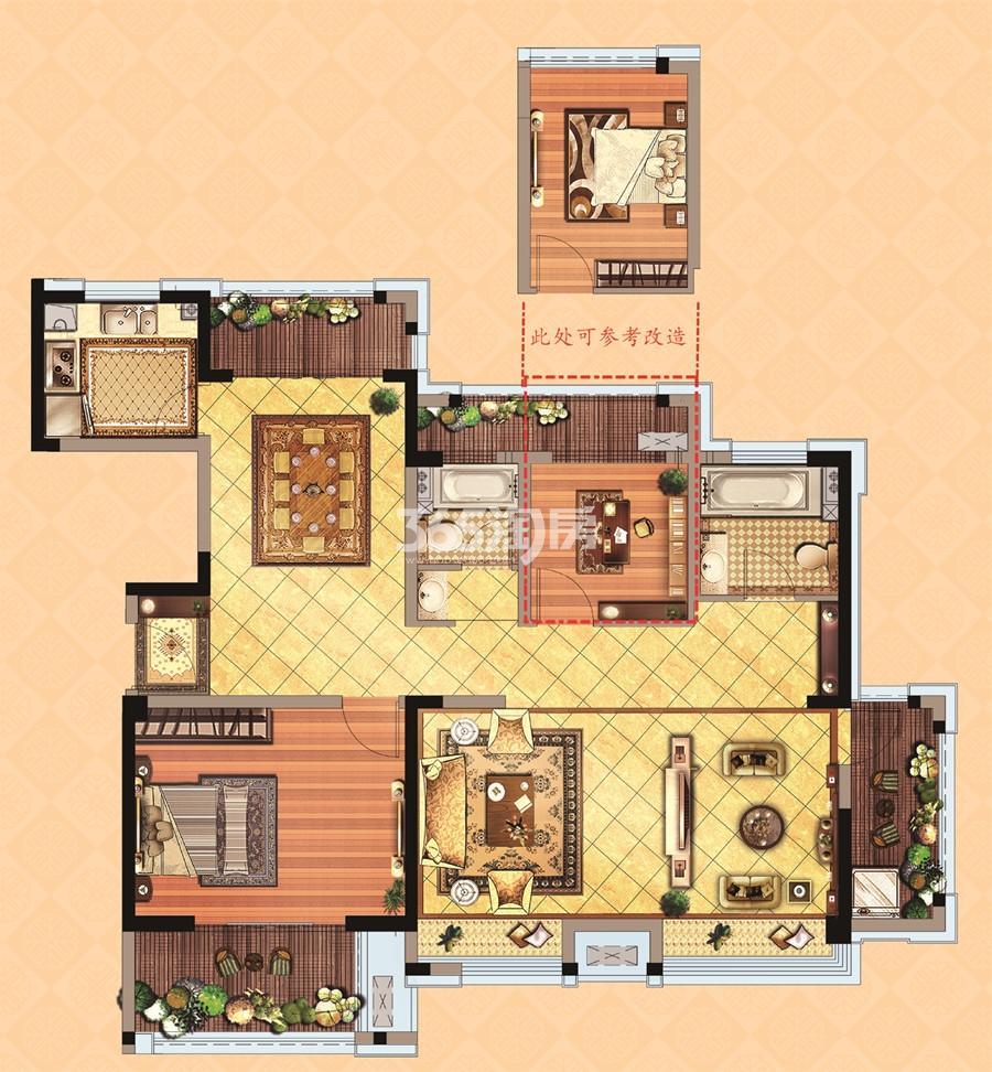 住宅D2户型132平米三房