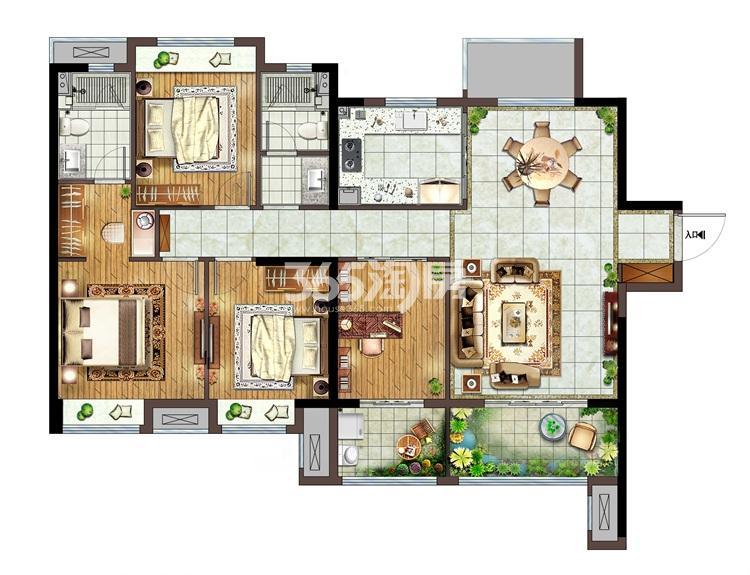 融侨悦城D户型139㎡四房两厅两卫