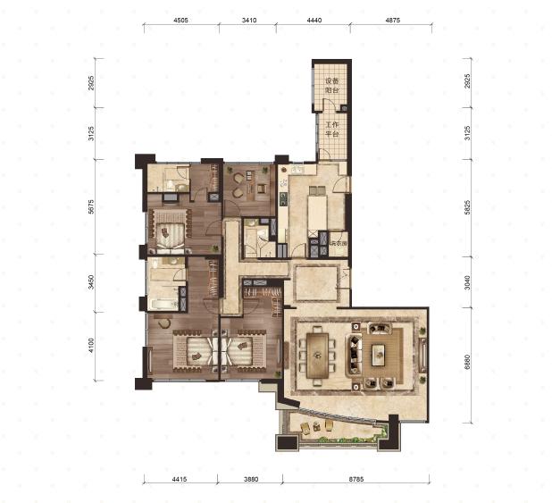 4号楼-1号室 4室2厅3卫 313平米
