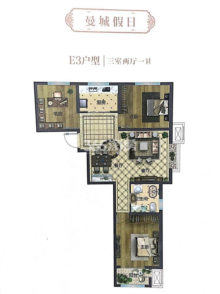 E3户型 107平米三居