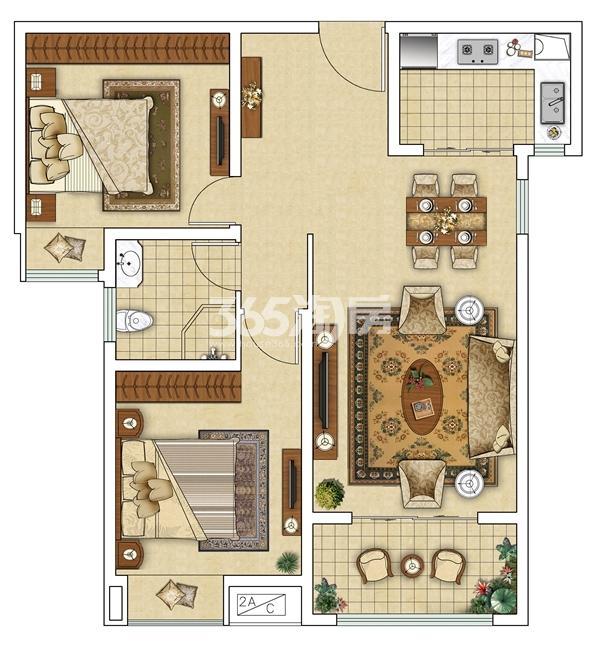 F 两室两厅户型图