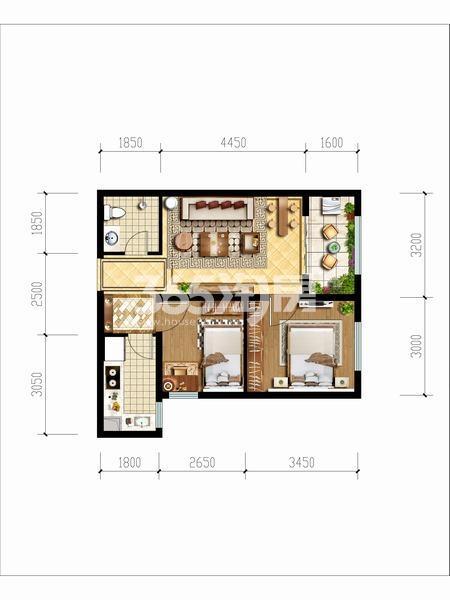 天朗玖悦都两室两厅一厨一卫59.29㎡户型图