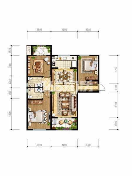 天朗玖悦都F户型三室两厅两卫一厨122.22平米户型图