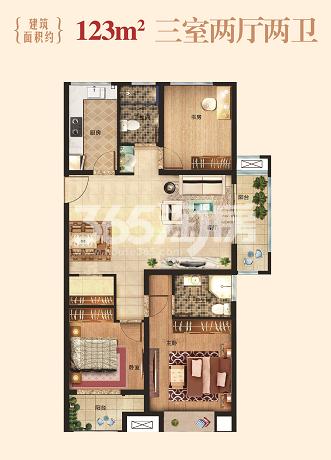 123㎡三室两厅户型