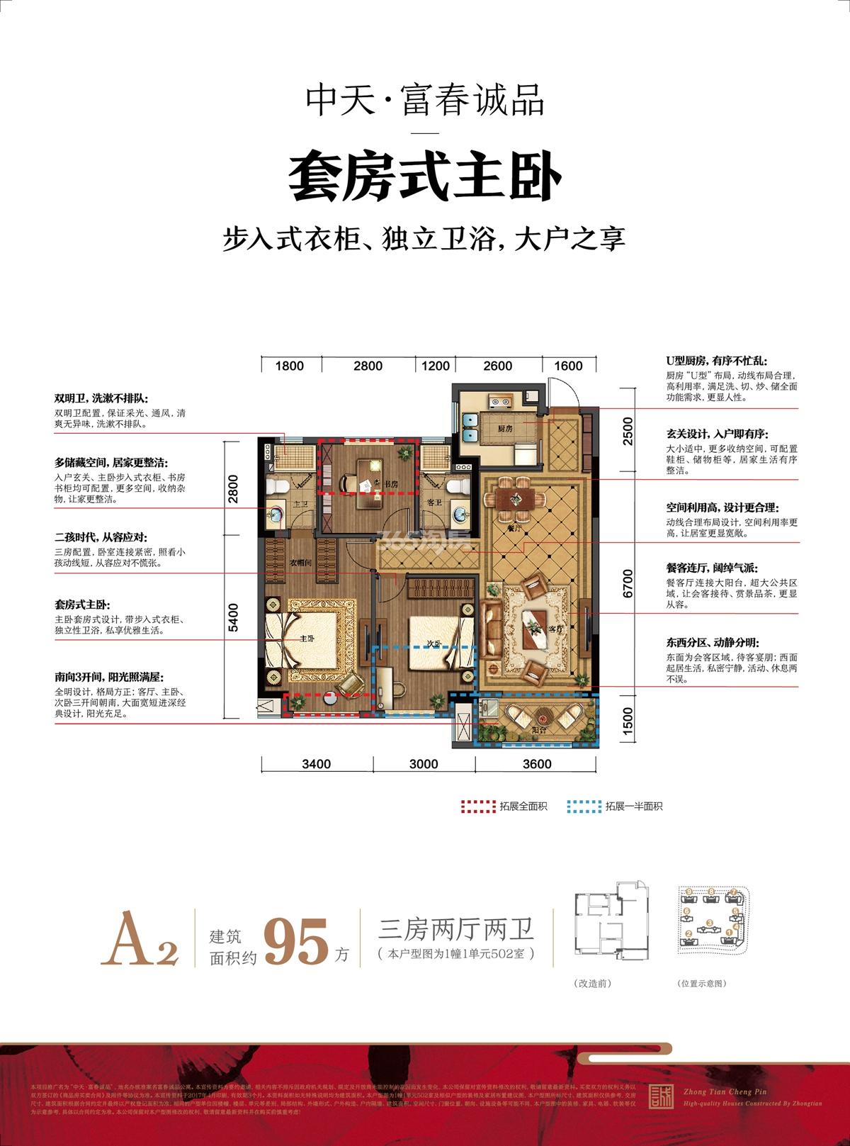 中天富春诚品A2户型图95方(1、2、7、8、9#)