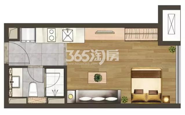 建发紫悦广场B户型37㎡户型图