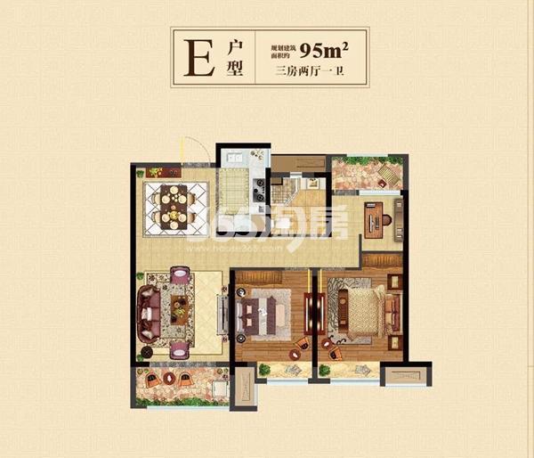 高层95㎡三室两厅一卫