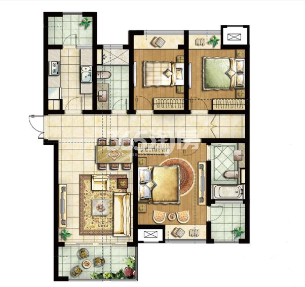 三期73#标准层D户型 3室2厅2卫1厨