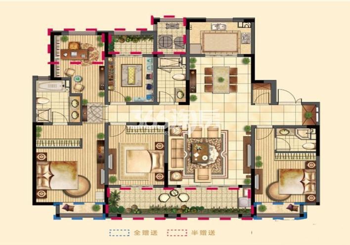 二期8#高层标准层E户型 5室2厅3卫1厨