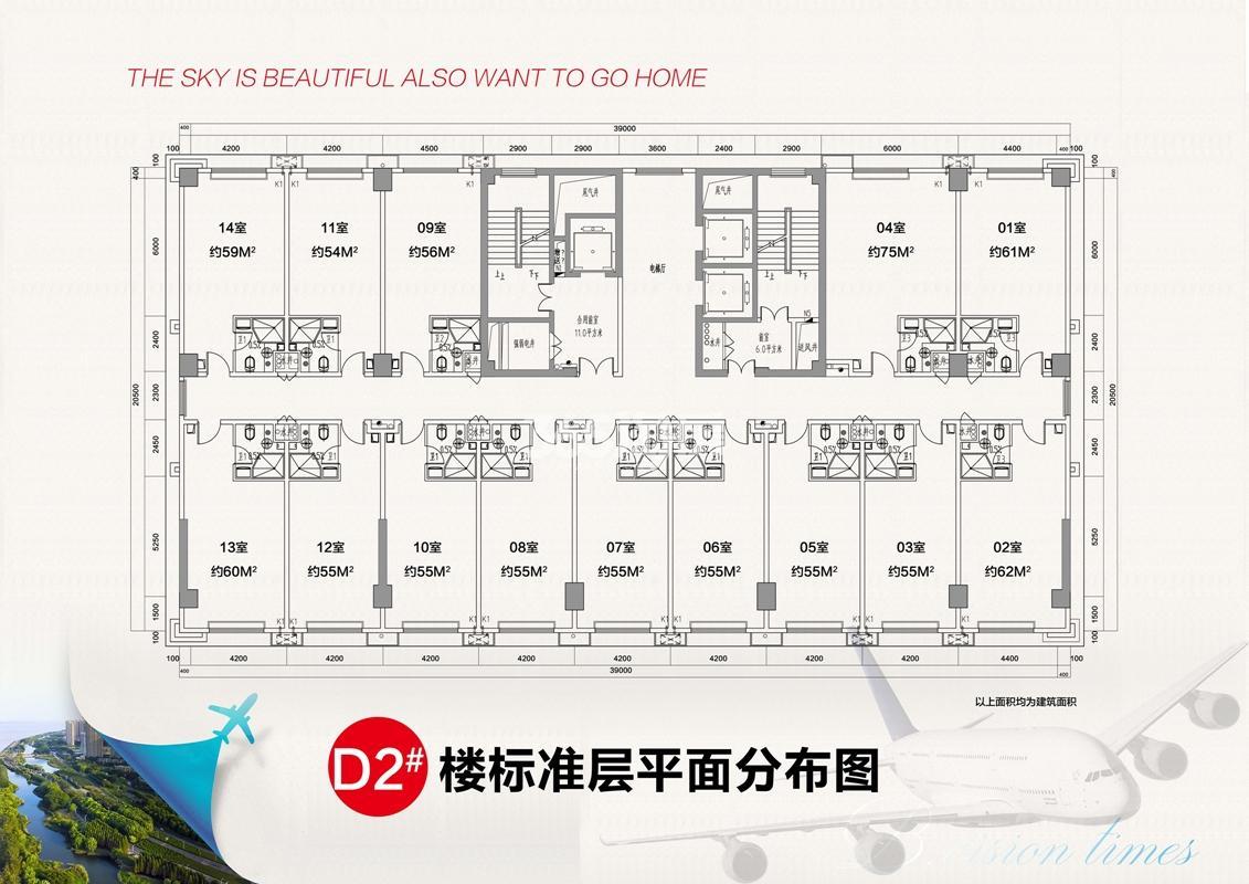 D2#标准层户型分布图 54-75方
