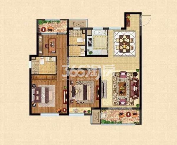 D户型118㎡三室两厅两卫