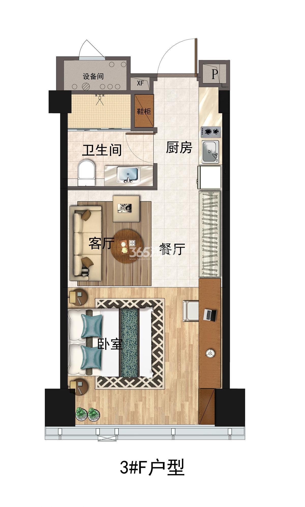 碧桂园深蓝国际F户型63方(3#)