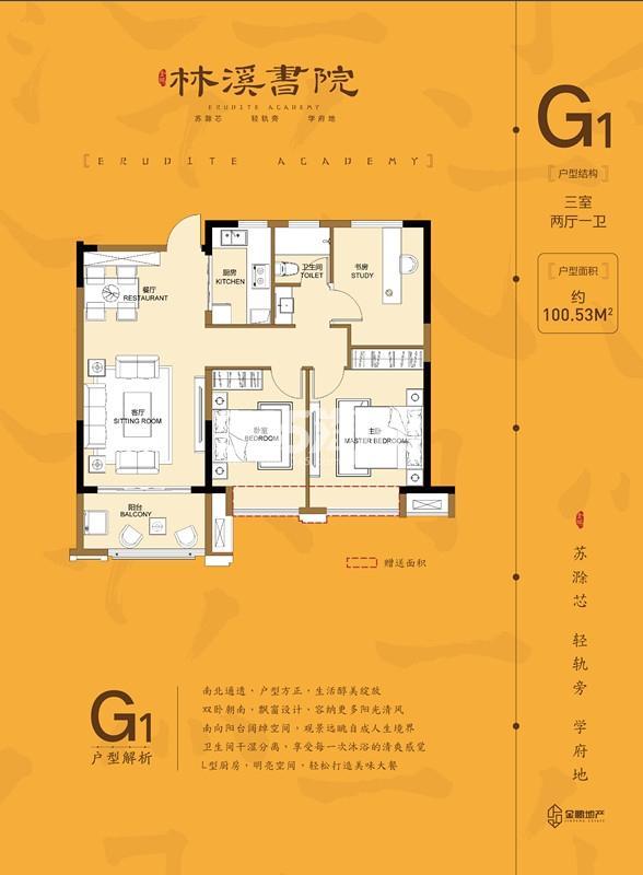 金鹏林溪书院高层G1 100㎡