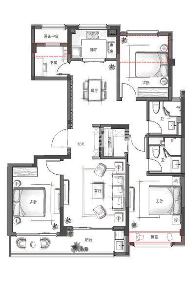 融创金成未来海南区1、10号楼130方户型图