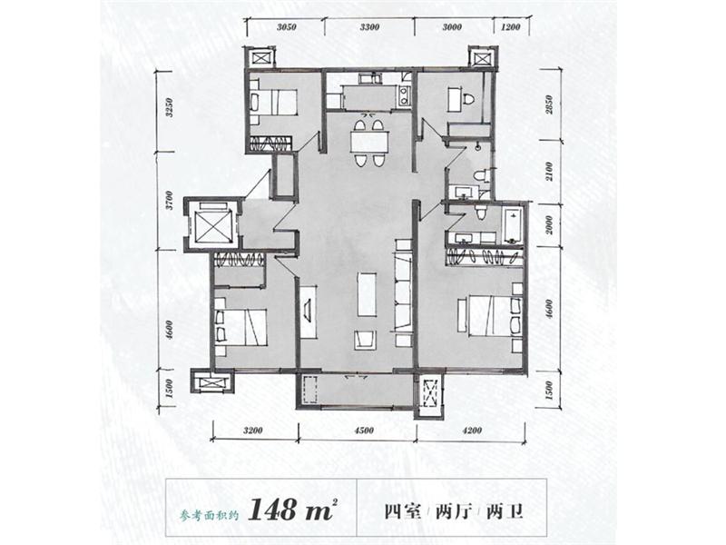 148平米 4室2厅2卫