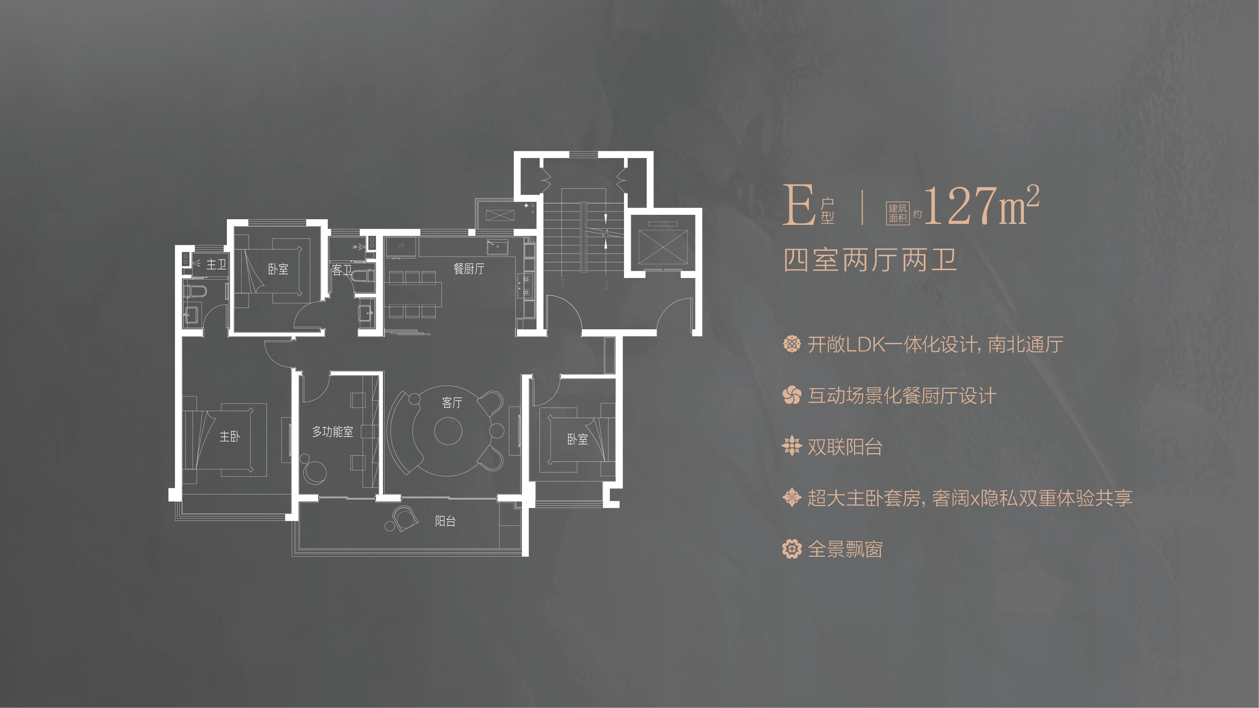 中海方山印建面约127㎡E户型图