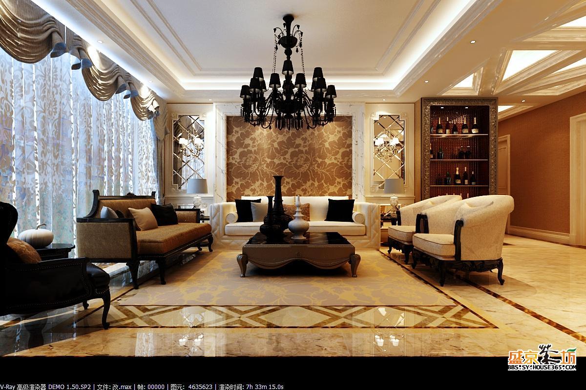 万科蓝湾140平深色系欧式新古典风格
